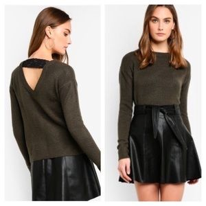 NWT Green Sweater Lace Cutout Back S